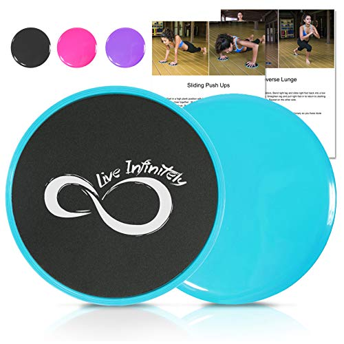 Live Infinitely Core Sliders Dual Sided Fitness Sliders for Hardwood Or Carpeted Surfaces Ideal for Ab Core Workouts Includes eBook of Exercises Workouts