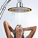 BHXUD Stainless Steel Booster Shower Top Spray 6 Inch Water Heater Shower Head with Hand Grip