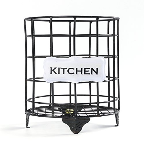(NIKKY HOME Metal Wire Utensil Holder Cutlery Storage for Kitchen, 7.08 x 5.11 x 5.9 Inches, Black)