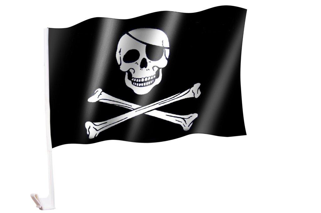 Autoflagge/Autofahne Pirat/Totenkopf/Skull/Piratenflagge Sportfanshop24
