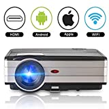 Wifi Projector HDMI 3500 Lumen Home Cinema Theater Projector HD 1080P Support Android Wireless Projector for iPhone Smartphone USB Gaming Movie Entertainment with 50,000hrs Led Lamp Speaker Keystone