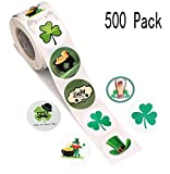 500 PCS St. Patrick's Day Stickers Labels Roll- Shamrock/Hat/Beer/Leprechaun/Treasure- Party Favors Decorations