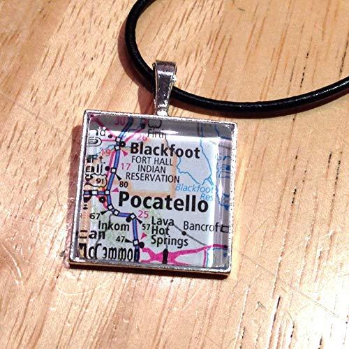 Blackfoot Pocatello Idaho USA Map Square Pendant Silver Necklace Atlas -