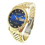 Swanson Men's Gold Day-Date Watch Stone Navy Blue Dial