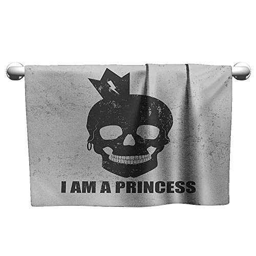 alisoso I am a Princess,Best Bath Towels Skull with a Crown Skeleton Halloween Theme Grunge Look Sports Ttowel Charcoal Grey and Pale Grey W 35