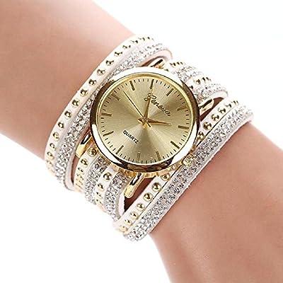 New Women Crystal Rivet Bracelet Quartz Braided Winding Wrap Wrist Watch