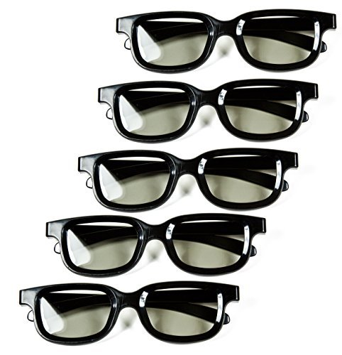 Optical Prime 3D (5 Pack) 3D Cinema Glasses For Passive TVs – Movie Theater Glasses - Circular Polarized. by Optical Prime 3D