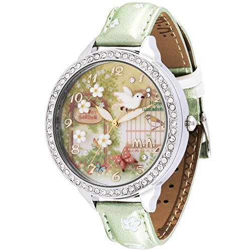 Price comparison product image Mini Double Layer Glass Mirror Fashion Polymer Clay the Secret Garden Student Girls Watch Green