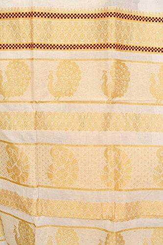 Exotic India Whisper-White Kasavu Sari from Kerala with Woven Peacoc - Off-White