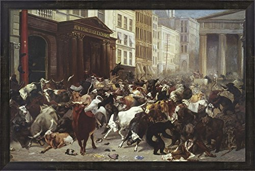 Wall Street: Bulls & Bears by William Holbrook Beard Framed Art Print Wall Picture, Espresso Brown Frame, 33 x 22 inches