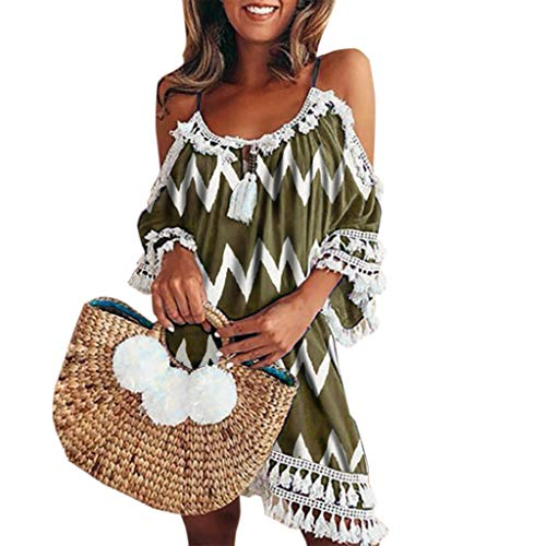 (Sumeimiya Women Off Shoulder Dress,Ladies Halter Beach Dresses Tassel Short Cocktail Party Sundress)