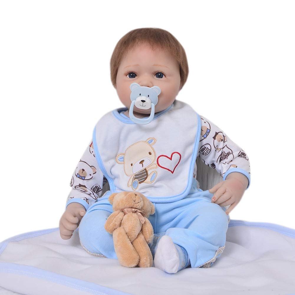 DMZH 55cm Reborn Babypuppen Süss Baby Simulation Neugeborenes Stoff Karosserie Weißhkörperpuppe Kinder Spielzeug Geburtstag Weißnachten Geschenke A