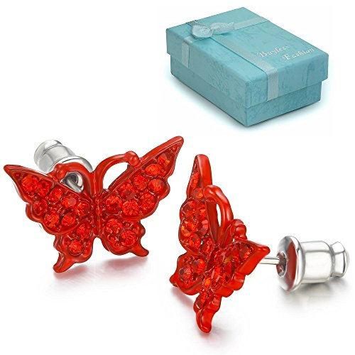 - Buyless Fashion Girls Butterfly Stud Earrings Crystal Stainless Steel In Gift Box - E104BTRED