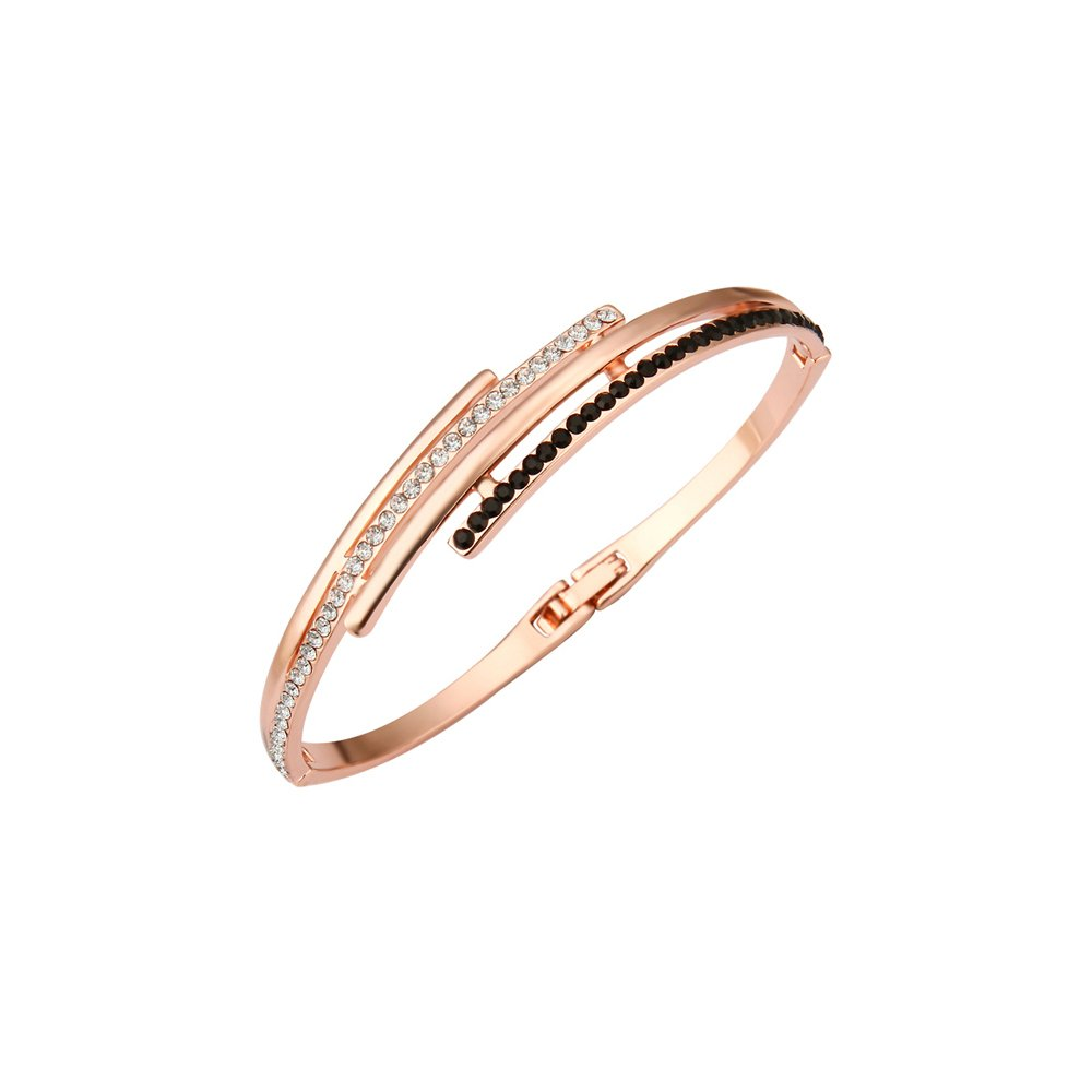 Cate & Chloe Elise Dignified 14k Rose Gold Bangle CZ Bracelet for Women, Sparkling Unique Trendy Rose Gold Jewelry with Black and White CZ Crystals, Twilight Sparkle Fashion Statement Jewelry