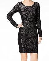 Calvin Klein Womens Woven-Inset Sweater Dress