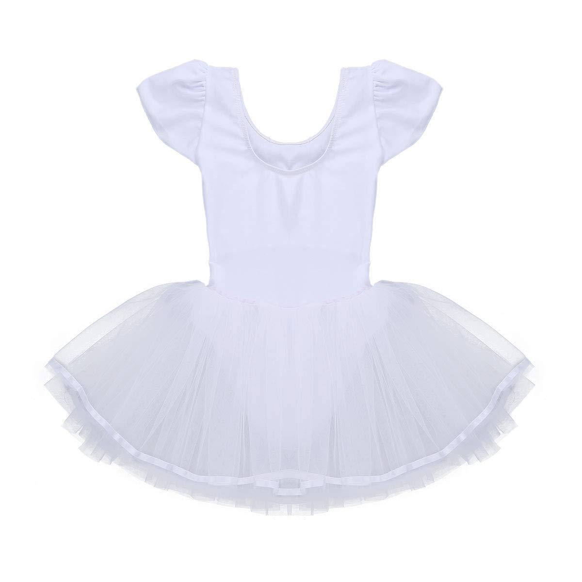 iEFiEL Bambina Leotard Vestito da Balletto Ragazza Body in Rete Pizzo Ginnastica Danza Classica Tutu Elegante Senza Manica Aderente Allenamento Ballo Bimba 4-12 Anni