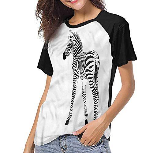(Women's Tops Blouses,Zebra,Wild Exotic Baby Creature S-XXL Summer Custom Tees for Girls)