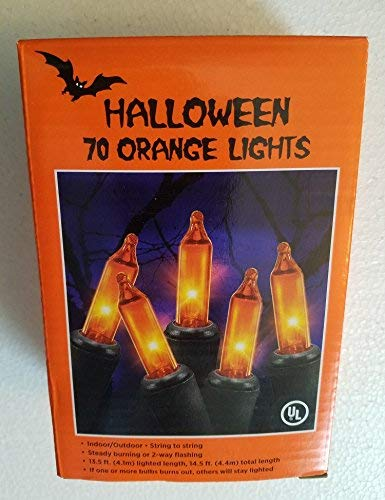 1 Box 70 Orange Mini Lights - Halloween Black Wire - Indoor/Outdoor Steady Burning or Flashing (13.5 Feet Lighted Strand Length) -