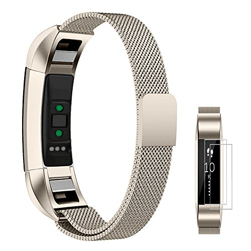 UMTELE For Fitbit Alta/Alta HR Metal Bands, Milanese Stainless Steel Replacement Band For Men & Women Small Champagne Gold