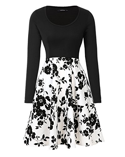 Womens Vintage Midi Dress Floral Long Sleeve A-line Cocktail Party Swing Dress with Pockets ()