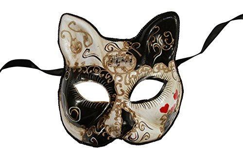 KAYSO INC Love Me Collection Cat Venetian Masquerade Mask (Black) - Cat Masquerade Mask