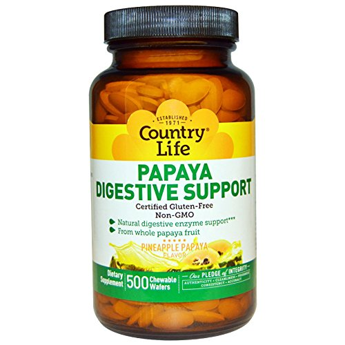 Country Life, Papaya Digestive Support, Pineapple Papaya Flavor, 500 Chewable Wafers