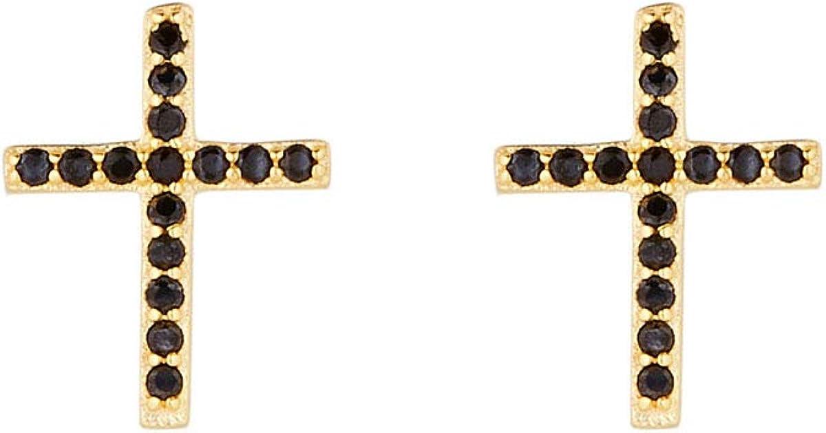 Córdoba Jewels | Pendientes en plata de Ley 925 bañada en oro con zirconitas con diseño Cruz Onix Zirconium Gold