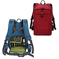 YuHan Multi-function Waterproof Anti-shock SLR/ DSLR Camera Backpack with 15-Inch Laptop Rucksack Inner Padding, Large, Red