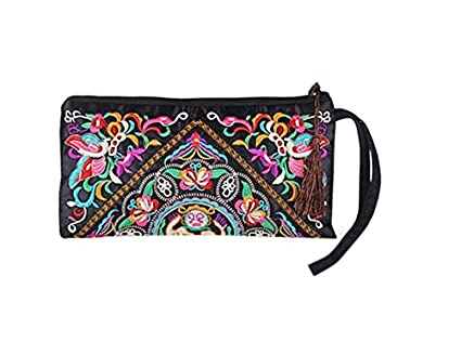 Amazon.com: YOIOY Ladies Retro Ethnic Embroider Purse Wallet ...