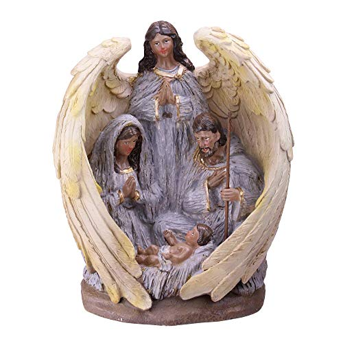"""Northlight 11.25"""" African-American Holy Family and Angel Christmas Nativity Table Decoration"""