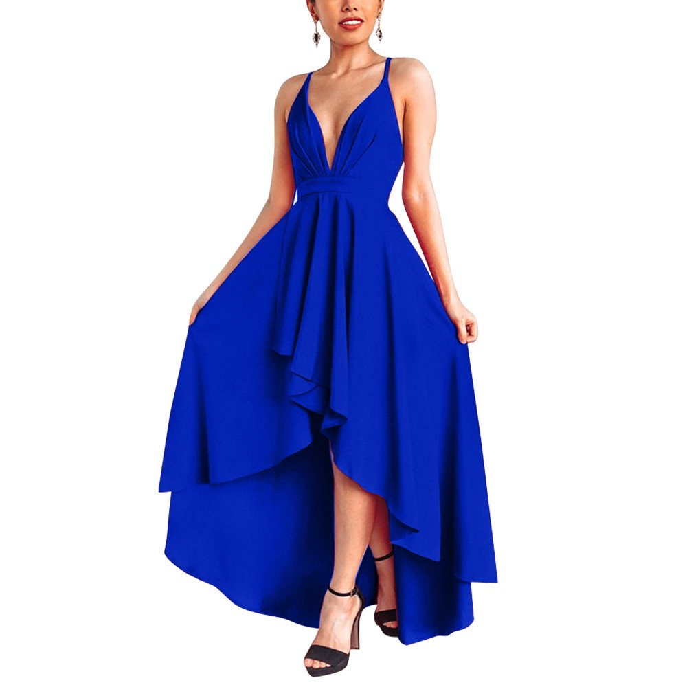 YS.DAMAI Women's Sexy V Neck Sleeveless High Low Hem Elegant Dress Cocktail Evening Party Dresses (Large, X Blue)