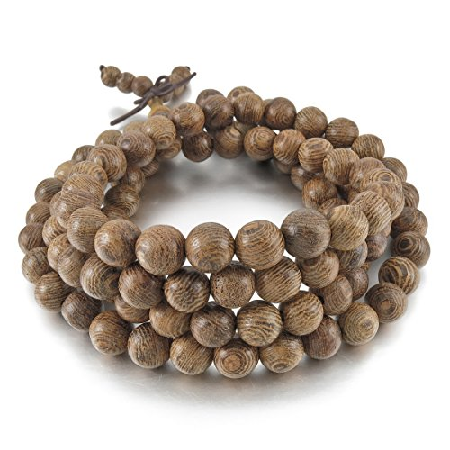 Inblue men women 39 s 8mm wood bracelet link wrist necklace for Zen culture jewelry reviews