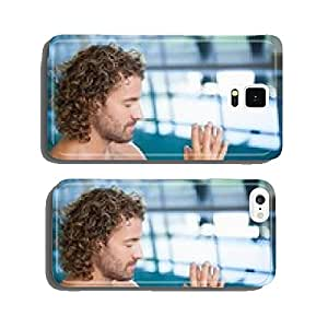 Close up side view of a shirtless fit swimmer by pool cell phone cover case iPhone6 Plus