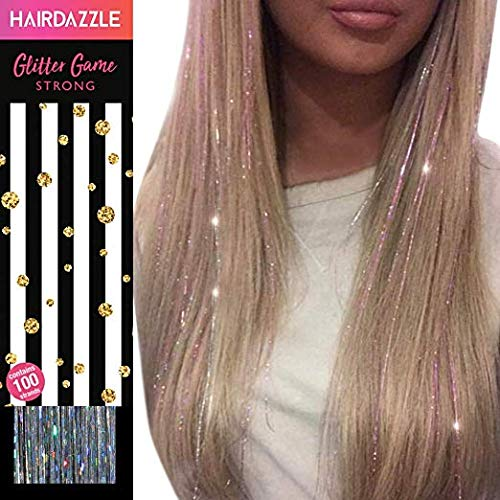 Hair Dazzle Holographic Hair Tinsel Set - Ultimate Fairy Strands Kit - SILVER Color Glitter Hair Extensions For Girls - Heat Resistant & Tangle-proof, Long Lasting Women's Sparkle Hair Accessories -