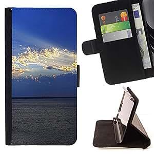 For Sony Xperia M2 Case , Naturaleza Nube Sol- la tarjeta de Crédito Slots PU Funda de cuero Monedero caso cubierta de piel