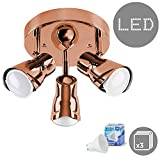 Contemporary Industrial Style Copper Effect Adjustable 3 Way Round Plate Ceiling Spotlight - Complete With 3 x 5W Cool White GU10 LED Bulbs