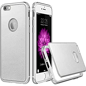 """iPhone 6 Case / iPhone 6S Case [ with Free Screen Protector ], ESR 2 in 1 Metal Hybrid Aluminum Frame + Hard PC Back Cover with PU Leather for iPhone 6 / 6S 4.7""""(Silver)"""