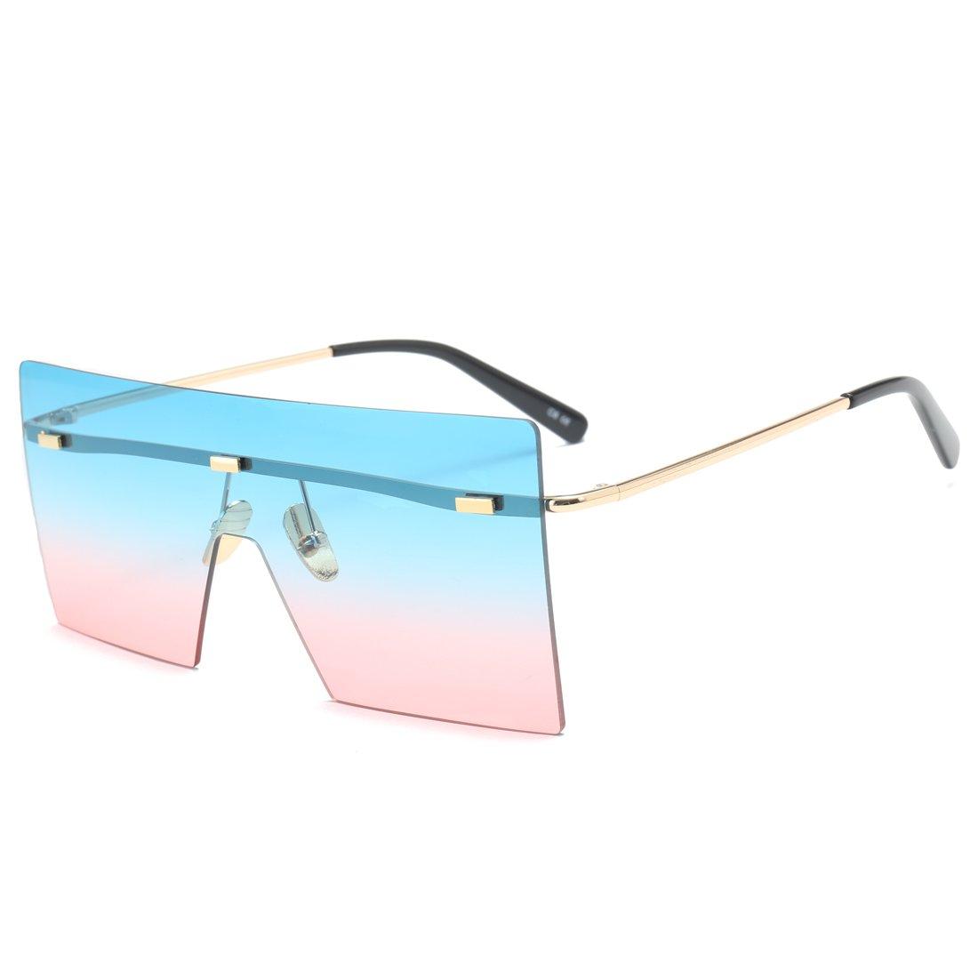 SIKYGEUM Vintange Oversized Rimless Sqaure Sunglasses Women Men Flat Top Mirrored (C6 Blue&Pink)