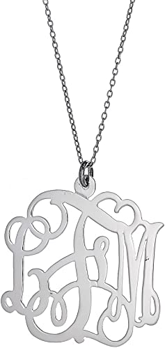 .925 Sterling Silver Custom Three Letter Initial Monogram Pendant 1.25 inches
