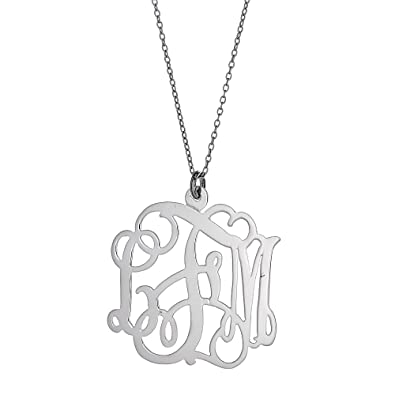 Amazon fancy letter medium three letter 925 sterling silver fancy letter medium three letter 925 sterling silver monogram pendant with chain 4g aloadofball Gallery