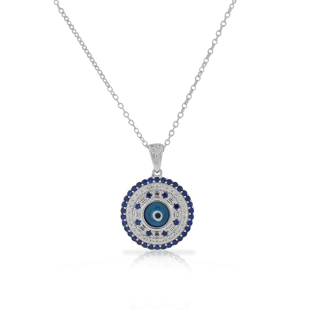 925 Sterling Silver White Blue CZ Evil Eye Protection Pendant Necklace