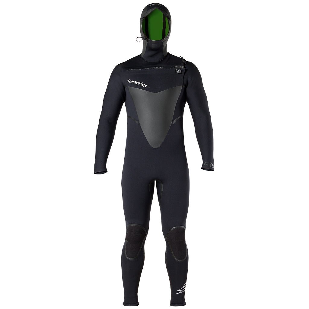 Hyperflex Wetsuits Men's Voodoo 5/4/3mm Hooded Front Zip Fullsuit, Black, Small by Hyperflex