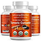 Organic Turmeric Curcumin Supplement – Non-GMO, Vegan - Potent 95% Curcuminoids, BioPerine (Black Pepper) Best Absorption – Anti-Inflammatory, Joint Support, Pain Relief – CellCynergy 60 Capsules