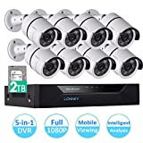 LONNKY 8CH FULL 1080P 5-in-1 DVR Security System with 8 HD TVI Outdoor 2.0MP 80ft Night Vision CCTV Camera, 2TB HDD Hard Driver, Intelligent Face Detection, Smartphone Viewing