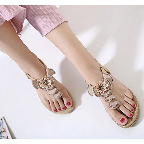 Minetom Mujer Verano Casual Bohemia Abalorios Diamantes De Imitación Sandalias Chanclas Dulce Flores Zapatos Piso Planos Albaricoque