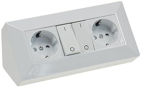Schaltbarer Steckdosenblock Eck-Steckdose 2 Schutzkontakt-Steckdosen + 2x  Schalter I 45° Winkel I 230V Aufbau & Eck-Montage für Arbeitsplatte Küche  ...