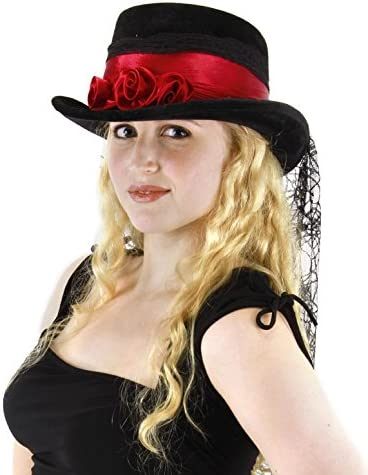 Steam-Punk-Gothic-Victorian-Quality BLACK MESH HAT BAND Only-Top Hat Accessory