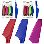 Premium Plastic Lettuce Knives/Cake Knife w/Serrated Edge - Set of 4 6 Assorted Colors: RED, BLUE, PINK, YELLOW & PURPLE, Colors may vary Lettuce, Vegetables, cake and bread knife Serrated plastic blade prevents lettuce from turning brown