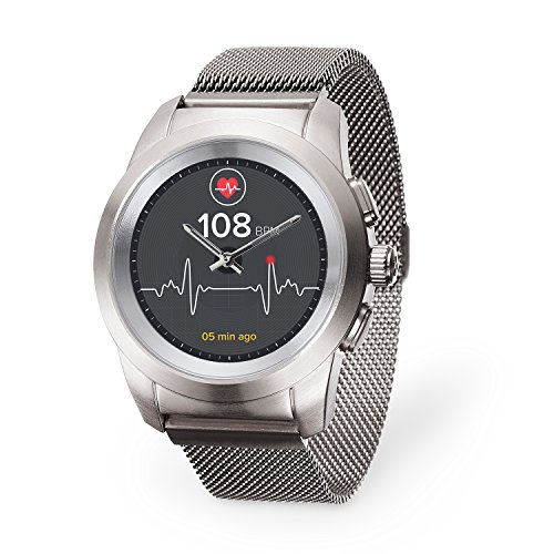 MyKronoz ZeTime Elite Hybrid Smartwatch with mechanical hands over a color touch screen – Regular Brushed Silver / Milanese