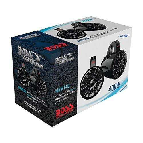 BOSS Audio MRWT40 400 Watt (Per Pair) , 4 Inch, Full Range, 2 Way, Weatherproof, Marine Grade Roll Cage / Waketower Speaker System (Sold in Pairs)